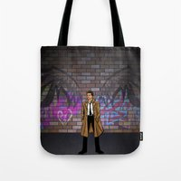 castiel Tote Bags featuring CASTIEL by Chris Thompson, ThompsonArts.com