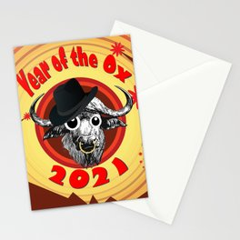 Year of the Ox 2 with Googly Eyes, Hat, and Nose Ring Stationery Cards
