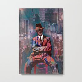 New York Man Seated City Background 2 Metal Print