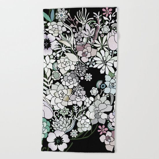 Colorful black detailed floral pattern Beach Towel