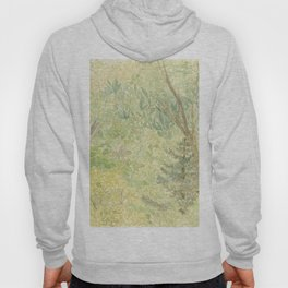 Watercolor Painting of the Spring Green Woods Mysterious Calming Forest Hoody