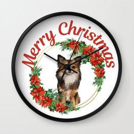 Merry Christmas Chihuahua with Xmas Wreath Wall Clock