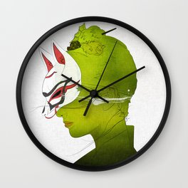 Fox Mask _side face Wall Clock
