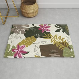 Cut Out Collage Tropical Print in Green, Brown & Pink. Rug