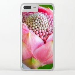 Delicate Pink Bud Waratah Flower Clear iPhone Case