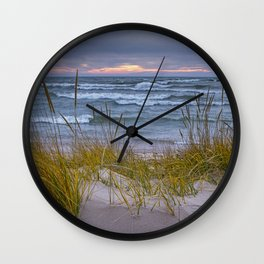 Lake Michigan Dune with Beach Grass at Sunset Wall Clock