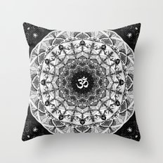 BLACK AND WHITE OM MANDALA Throw Pillow