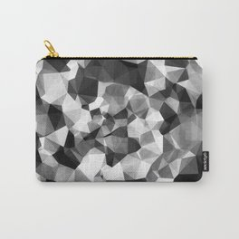 contemporary geometric polygon abstract pattern in black and white Carry-All Pouch