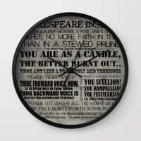 shakespeare Wall Clocks featuring Shakespeare Insults by EntryPlug