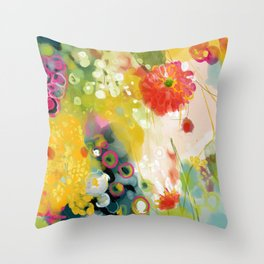 abstract floral art in yellow green and rose magenta colors Throw Pillow