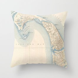 Vintage Map of Lower Cape Cod Throw Pillow