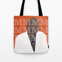 pushing daisies Tote Bags featuring Pushing Daisies - Coroner by MacGuffin Designs