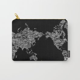 Passport Stamp Map Special Edition, Black and White Carry-All Pouch