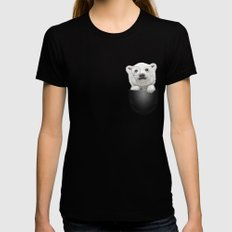 POCKET POLAR BEAR Black Womens Fitted Tee X-LARGE