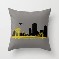 pittsburgh Throw Pillows featuring Pittsburgh Browncoats by Caroline Moore