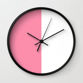 White and Flamingo Pink Vertical Halves Wall Clock