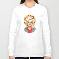 leslie knope Long Sleeve T-shirts featuring Leslie Knope, Goddess of Girl Power & Waffles by Kirsten Sevig