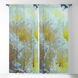 Chrysanthemums In White Light Blackout Curtain
