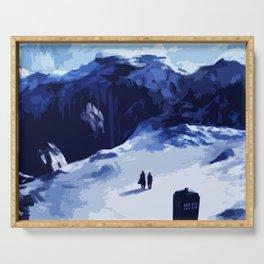 Tardis Art At The Snow Mountain Serving Tray