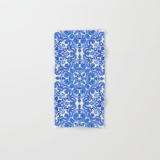 Cobalt Blue & China White Folk Art Pattern Hand & Bath Towel
