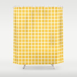 Grid (White & Orange Pattern) Shower Curtain