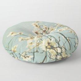 Magnolia blossoms. Mint Floor Pillow