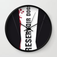 reservoir dogs Wall Clocks featuring Reservoir Dogs Tribute Poster by stefano manca