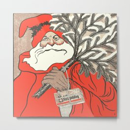 Christmas Pudding And Vintage Santa Vector Metal Print