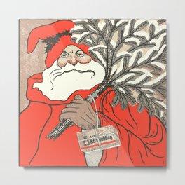 Christmas Pudding And Vintage Santa Vector Metal Print