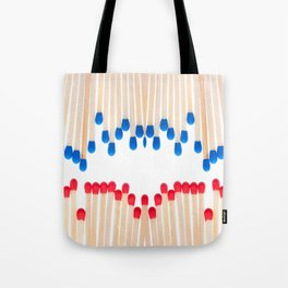 Many red and blue unused wooden matches Tote Bag