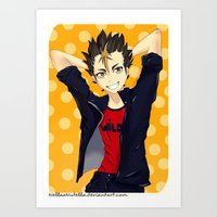 haikyuu Art Prints featuring Haikyuu!!: Nishinoya by Nella Nutella