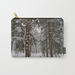 Dog exploring a snowy forest Carry-All Pouch