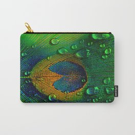 Drops on peacock  (This Artwork is a collaboration with the talented artist Agostino Lo coco) Carry-All Pouch