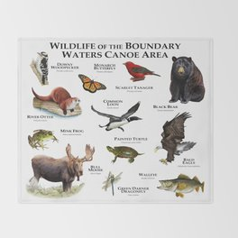 Wildlife of the Boundary Water Canoe Area Throw Blanket