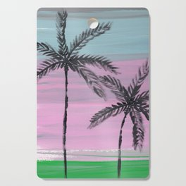 two palm trees sunset sky Cutting Board