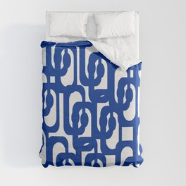 Bright Blue and White Mid-century Modern Loop Pattern  Duvet Cover
