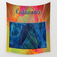 colorado Wall Tapestries featuring Colorado Map by Roger Wedegis
