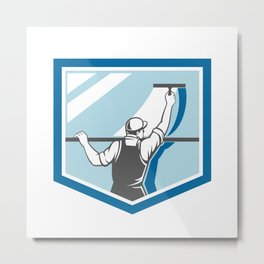 Window Cleaner Washer Worker Shield Retro Metal Print
