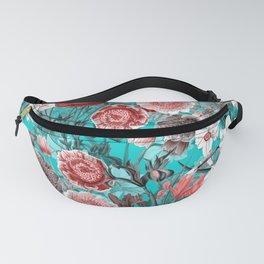 Vintage & Shabby Chic - Rose Blush & Teal Garden Flowers Fanny Pack