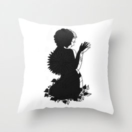 Lady Flower Black & White Siluette Throw Pillow