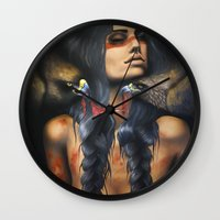 running Wall Clocks featuring Running Eagle by Chelsea Brown