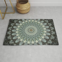 Gray and green mandala Rug