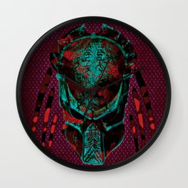 Soldier Predator Red Teal Wall Clock