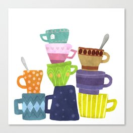 Coffee And Tea Cups And Mugs Stacked High Canvas Print