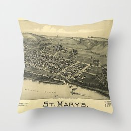 Aerial View of St. Mary's, West Virginia (1899) Throw Pillow