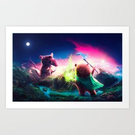 KNIFE RAT VS WIZARD BEAR Art Print
