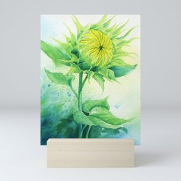 Watercolor Painting | Sunflower in the wind Mini Art Print