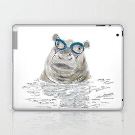 Hippo with swimming goggles Laptop & iPad Skin