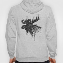 Black and White Moose Head Watercolor Silhouette Hoody
