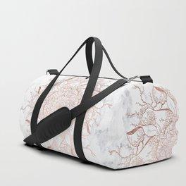 Modern rose gold floral terrarium mandala white marble Duffle Bag